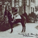 "The author's grandfather, Charles Kilbourne, on horseback in Germany after World War I. The photo is inscribed, ""Bendorf on the Rhine, Jan 1919, CE Kilbourne – 3d Brigade, 2d division."