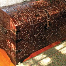 As a child, the author's imagination was titillated when her parents referred to the ornately carved chest with domed lid and iron hasps as the Spanish mission chest, which conjured up the Spanish Empire with its distant Pacific possessions, the Philippine Islands.